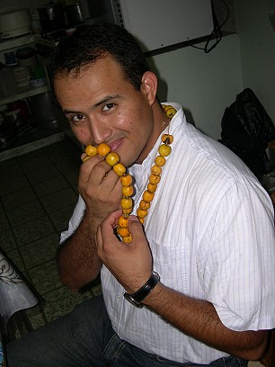And models a necklace traditionally used during the Festival of the Virgin of Zapopan, on October 12