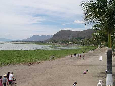 The river that feeds Lake Chapala has been diverted for irrigation, and the lake has shrunk over the years.  It used to come right up to the wall this picture was taken from.