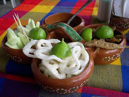 "We start with cucumbers, salsa, crunchy wheat ""chicharron,"" and charales--whole fried minnows, a delicious specialty of Chapala."