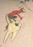 A devilish dentist.  From a wall painting in front of a dentist's office.
