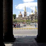 Guadalajara.  The Cathedral from Teatro Degollado