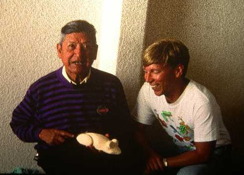 Yep, that's me on the right, twenty years ago, with the rug.  I was about 12.  I am with Manuel Jimenez, a very famous wood carver.  He is old but he has his own hair.