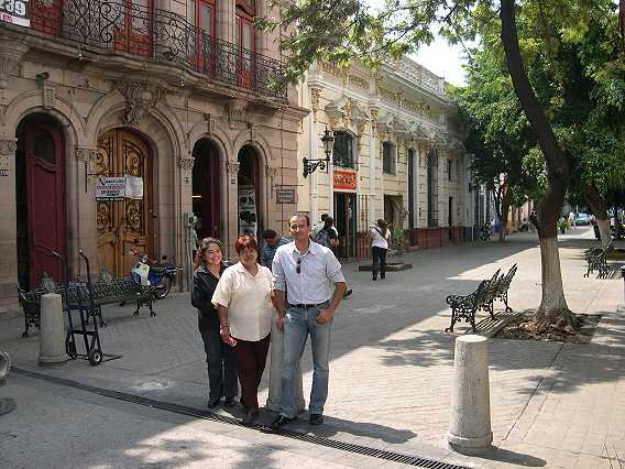 Omar in Nueve Esquinas, with great friends Paula and Imelda.  This is one of the blocks closed off to traffic.