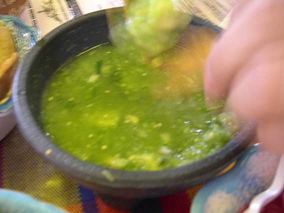 This green sauce is made from fresh, citrusy tomatillos and avocado.