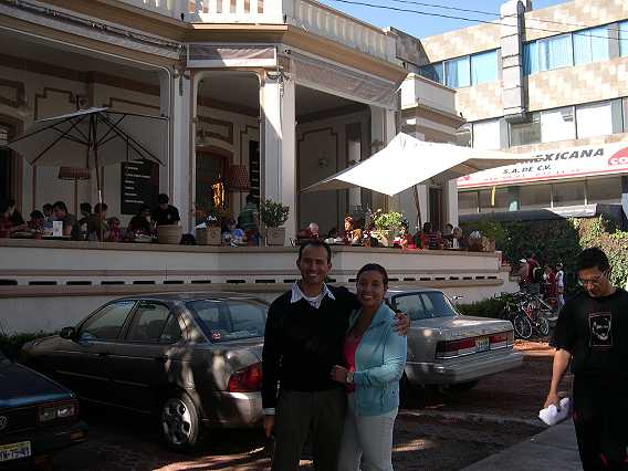 Omar and Mely in front of Chai.  It's nice to get a table on the veranda, so you can watch the world go by.