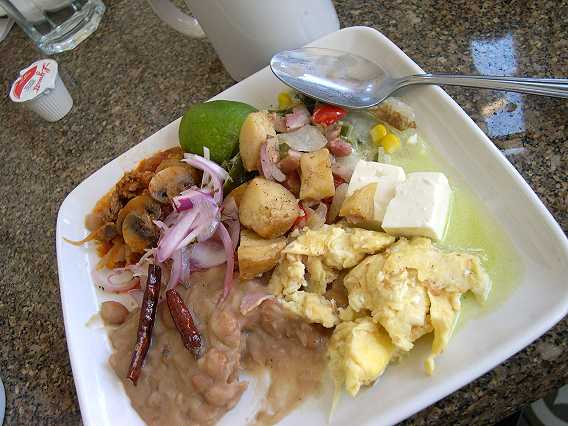 A hearty Mexican breakfast.  We eat a good breakfast and a big lunch, and then a small meal late in the evening.