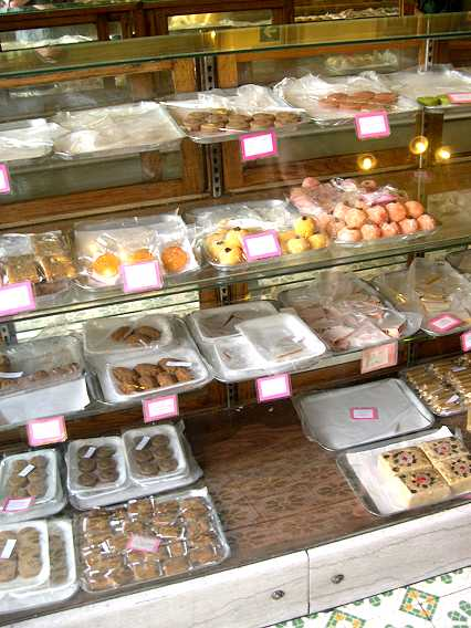 A variety of sweets, beautifully displayed.