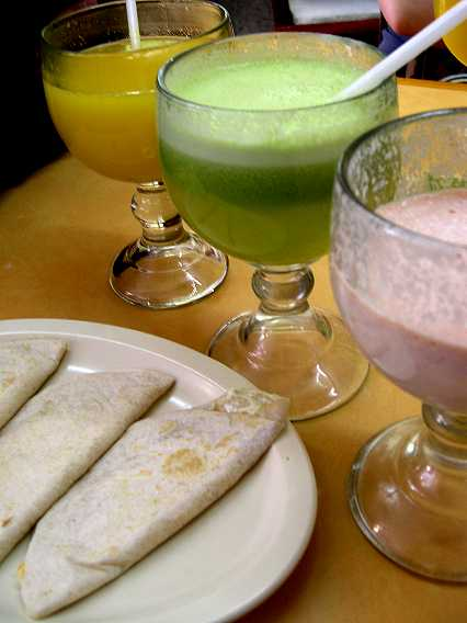I had the orange juice, too--along with alfalfa/pineapple and a milky licuado de mamey, all to wash down my quesadillas, here before adding a liter of salsa