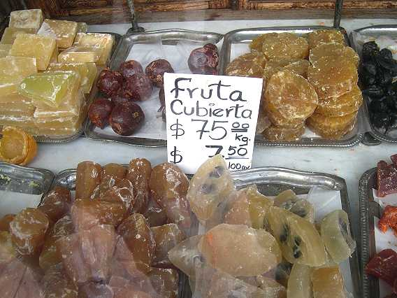 Lovely candied fruits.  This is what you need to make the mincemeat stuffing for chiles en nogada, described in a previous post.