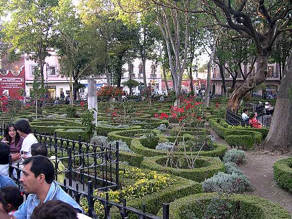 The plaza in Coyoacan is beautifully maintained.