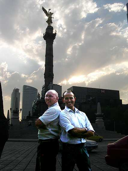 Omar and I at the Angel de la Independencia, symbol of Mexico.  We look photoshoped in.  Truth is, we came out too dark, but I like the picture, so I lightened us up.  We are so Jetsons at 365Mexico.