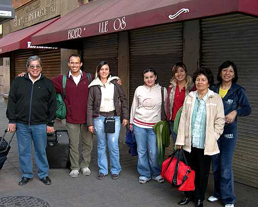 Mexico City!  Don Pedro, Omar, Nena, Karen, Reina, Alicia, and Tochi, just off the bus and ready to look for a hotel.  After traveling alone for so many years, it is wonderful to do it with friends.