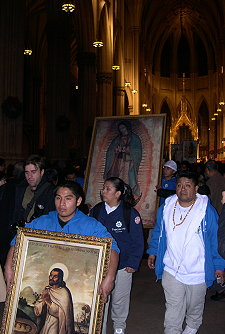The Virgin appeared to Don Juan Diego.