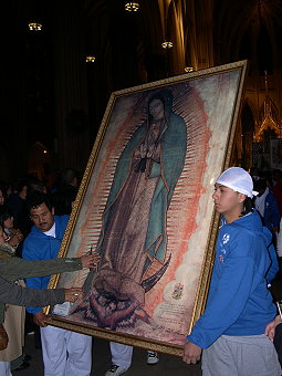 Everyone wanted to touch the Virgin's image.