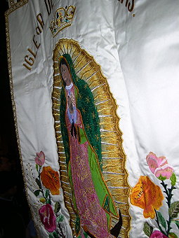 Some of the embroidered images of the Virgin are very attractive.