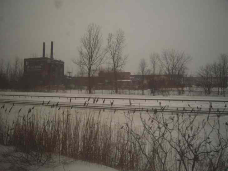 Upstate New  York in the winter.  Old factories and ice.  I don't mind the cold or the snow--it is the dark that gets to me.  We have measurable rain or snow half the days of the year.  Of course our good days are glorious--clean and fresh and green.