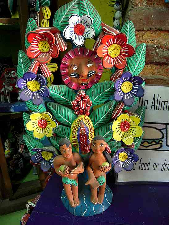 A 'tree of life,' with the Virgin de Guadalupe and Adam and Eve.