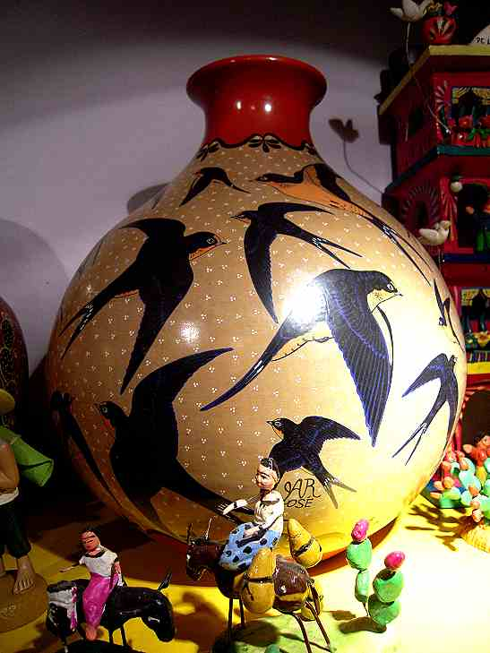 Mexican handicrafts are everywhere--both traditional...