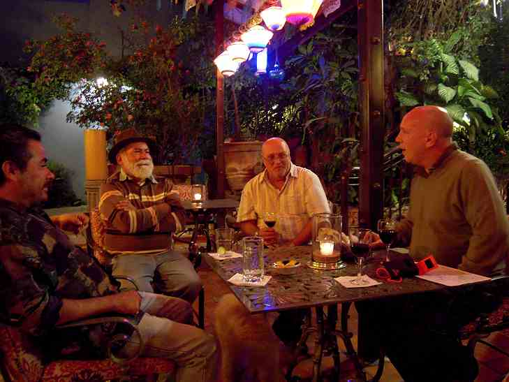 Stan, our host, is in the light shirt.  The man with the hat is an expert on Mexican silver.