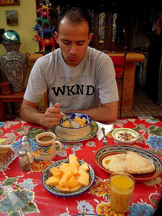 Fresh fruit, yougurt with nuts, pineapple empanadas, coffee, and orange juice get the day started.  The next morning Stan made his special poached eggs on a bed of potatoes and creamed spinach, which was out of this world!